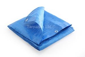 3.5M x 5.5M BLUE STRIPED WATERPROOF TARPAULIN SHEET TARP COVER WITH EYELETS