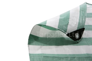 3.5 x 5.5 metre Green and White Striped Waterproof Tarpaulin Covers with eyelets